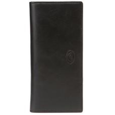 Большой кожаный черный кошелек на кнопке Tony Perotti